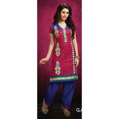 Designer Pink & Blue Unstitched Salwar Suit-WA0010(Sd-Galaxy)