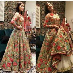 Mehwish Hayat Haute Couture Dresses, Pakistani Actress, Fancy Pants, High Fashion, Sequins, Sari, Actresses, Bride, Stylish