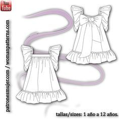 Patron vestido de No Sin Valentina Baby Sewing Projects, Sewing Patterns For Kids, Sewing For Kids, Clothing Patterns, Toddler Fashion, Toddler Outfits, Kids Outfits, Kids Fashion, Baby Girl Party Dresses