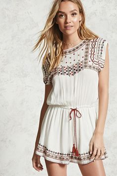 Forever 21 Contemporary - A woven romper featuring a round neck, cap sleeves, an elasticized tasseled self-tie waist, and tribal-inspired embroidery along the bodice and hem.