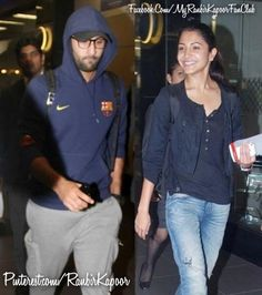 Ranbir Kapoor and Anushka Sharma were spotted at Mumbai airport recently. While Ranbir sported a casual look in a navy blue coloured sweatshirt and a pair of track pants, Anushka upped her style quotient in a pair of denims, black T-shirt and black jacket.    Anushka's ponytail completed her look and accentuated her face.  Ranbir too made a style statement with his uber-stylish pair of spectacles.