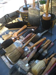 Beautiful old brushes  (I had several old brushes on a garage sale for about $2-3 a piece. Nobody bought them, SO I KEPT THEM, put them in an old wood box and love it!. Their loss!)