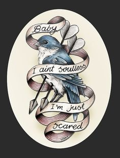 """tattoo idea - except with a baltimore oriole and text saying """"eat your peas lindsay, eat em."""""""