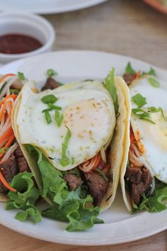 """""""Bibimbap"""" Tacos!! Tacos inspired by one of my favorite Korean food dishes. .  minus the rice and topped with a fried egg! #koreanfood #bibimbap"""