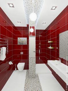 grey and black bathroom ideas Red Bathroom Decor, White Bathroom Tiles, Eclectic Bathroom, Modern Farmhouse Bathroom, Chic Bathrooms, Small Bathroom, Black Bathrooms, Glass Bathroom, Bathroom Sinks