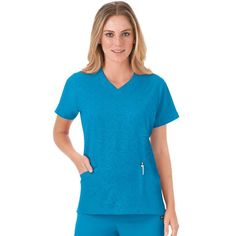 Women's Jockey Scrubs Modern Solid Illusions V-Neck Top, Turquoise/Blue (Turq/Aqua)