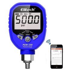 Elitech Wireless Digital Pressure Gauge HVAC A/C Refrigerant Manifold Gauge with Demountable Temperature Test Clip NPT. Digital Pressure Gauge, Battery Indicator, Gauges, Industrial, App, Amazon, Riding Habit, Industrial Music, Apps