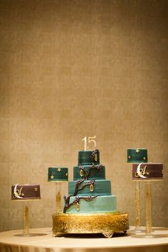 Moonlight Quinceanera - ombré cake with gold and branch details