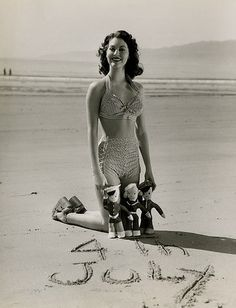 Ava Gardner at the beach during the 1950s on the 4th on July.