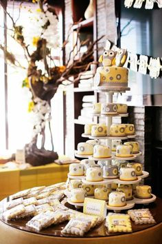 Owl Yellow Grey Gray Twin Baby Shower Party Planning Ideas Cake Idea