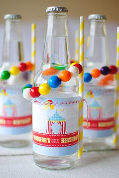 Circus Carnival Themed Birthday Party Drink Labels by Twinkle Twinkle Little Party