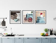 Kitchen Gallery Wall Art Set of Farmhouse Prints Country Kitchen Farmhouse, Farmhouse Kitchen Decor, Decorating Small Spaces, Decorating Ideas, Decor Ideas, Kitchen Gallery Wall, Minimalist Home Interior, Wall Art Sets, Home Collections