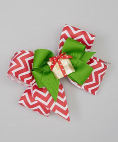 Take a look at this Red & Green Zigzag Present Bow Clip Set by Picture Perfect Hair Bows on #zulily today!