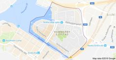 Mapa oblasti Hammarby Sjöstad, Štokholm, Švédsko