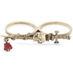 ALEXANDER MCQUEEN Jewelled sword two-finger ring ($280) ❤ liked on Polyvore featuring jewelry, rings, jewel rings, alexander mcqueen ring, antique brass charms, skull rings and 2 finger rings