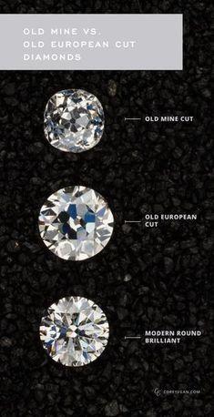 old european cut diamonds vs old mine cut diamonds. I like the 'Old Mine' cut the best Diamond Tops, Diamond Rings, Antique Engagement Rings, Engagement Ring Cuts, European Cut Diamonds, Brilliant Diamond, Vintage Diamond, Black Rings, Rings