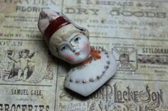 Antique Porcelain Fancy Woman Head by CaityAshBadashery on Etsy, $4.50