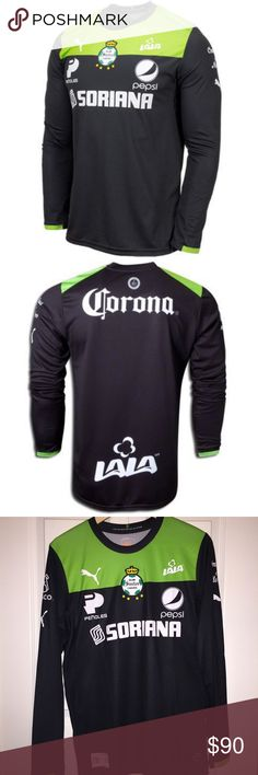 PUMA Santos Laguna Goalkeeper Soccer Jersey Suit up like Santos Laguna's goalkeeper and team captain, Oswaldo Sanchez!  This 30th anniversary jersey is almost impossible to find!  * Santos Laguna's 2013 goalkeeper jersey * Crewneck * Santos Laguna team crest in center * PUMA logo on right chest * Team sponsors represented * DryCelltechnology * 100% polyester  Take a look at everything I have for sale!   I am always adding new items!  Feel free to make an offer.   I discount purchases that…
