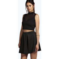 Boohoo Tianna Neon Box Pleat Skater Skirt (9.16 CAD) ❤ liked on Polyvore featuring skirts, black, high waisted circle skirt, knee length pleated skirt, black flared skirt, pleated skater skirt ve skater skirt