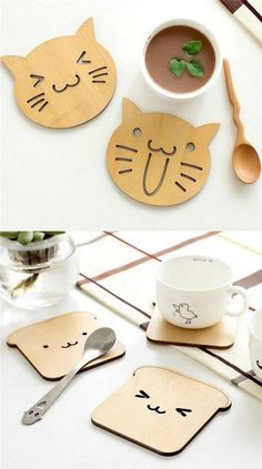 Wood Cute Animal Coaster Holder Coffee Mug Placemat Cup Mat Cushion Gift Set – In-house Factory Diy Coasters, Wooden Coasters, Wooden Gifts, Handmade Wooden, Crafts To Sell, Diy And Crafts, Scrabble Wall Art, Clay Art Projects, Laser Cutter Projects