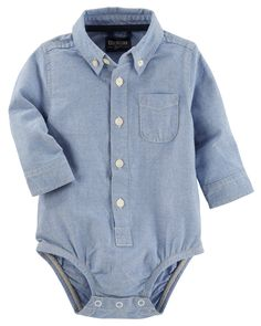 Baby Boy Button-Front Oxford Bodysuit   OshKosh.com