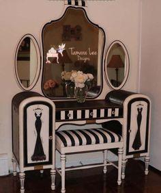 Glam Vanity Makeover by Tamara Lee Designs Decor, Furniture, Funky Furniture, Redo Furniture, Vanity Makeover, Home Decor, Interior Design, Black Chalk Paint, Old Vanity
