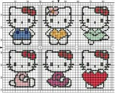Hello kitty Cross Stitch For Kids, Cross Stitch Boards, Cross Stitch Bookmarks, Beaded Cross Stitch, Cross Stitch Alphabet, Cross Stitch Embroidery, Cross Stitch Patterns, Hello Kitty Crafts, Hello Kitty Coloring