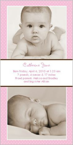 Swiss Dots Pink Birth Announcement