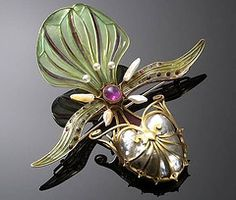 art nouveau~georges fouquet~orchid brooch ~((my years in the jewelry business notwithstanding~this is still my **all time favourite** piece of jewelry~ even tho I live deep in the boreal forest of far northern Canada~I'm still able to grow orchids in my home!~I also spend many happy hours creating jewelry~featuring hearts! ~wk)~