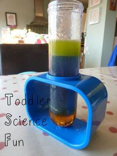 Being Mrs C: Toddler Science Fun. Seeing which liquids are most dense; what floats in water and what sinks; what do eggs do in water and what difference does adding salt to the water make.