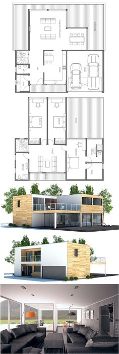 Planta de Casa. This would be a great option with the bathrooms and kitchen rearranged for a more efficient layout. I'd also add a door from the garage to the inside of the house.