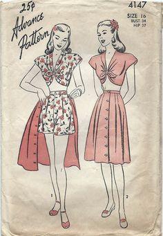 40s Summer Crop Top Shorts Skirt Playsuit by AnnesVintagePatterns, $34.00