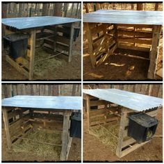 Fast, simple chicken coop made from 3 pallets -- COULD BE USED FOR OTHER SMALL ANIMALS AS WELL~