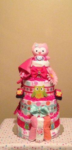 Baby Girl.. Owl Diaper Cake.. Pink..Green..Orange.. Centerpiece Baby Party, Baby Shower Parties, Baby Shower Themes, Baby Shower Decorations, Baby Shower Gifts, Baby Gifts, Baby Showers, Shower Ideas, Baby Shower Fall