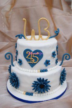 45th Wedding Anniversary Cake Blueflowers Sapphireanniversary