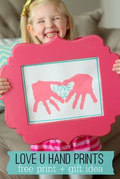 Hand Print Crafts for Kids: Love U Hand Prints | Simple DIY Craft Ideas for Mother's Day from Kids by DIY Ready at http://diyready.com/diy-gifts-mothers-day-ideas/