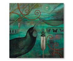 Huia -xl by Kathryn Furniss - prints Art Maori, New Zealand Art, Jr Art, Animal Paintings, Acrylic Paintings, Art Portfolio, Bird Prints, Artist Painting, Fine Art Prints