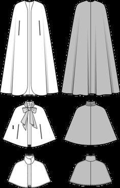 Schnittmuster: Cape mit Schluppe, Pelzcape (Burda Style) Sewing Pattern: Cape with Throat, Fur Cape Dress Sewing Patterns, Clothing Patterns, Fashion Sewing, Diy Fashion, Sewing Clothes, Diy Clothes, Muslimah Wedding Dress, Hijab Evening Dress, Cape Designs
