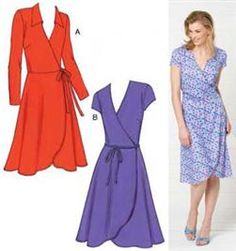 Kwik Sew Misses Fitted Knit Wrap Dresses Pattern, KP-3489