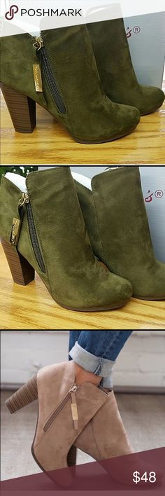 NEWOLIVE BOOTIES!! Super Cute Faux Suede Olive Booties Shoes Ankle Boots & Booties