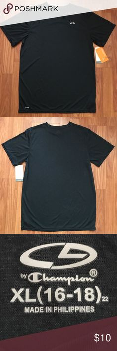 Champion Dark Grey Dri-Fit T-Shirt Youth XL This is a listing for a Champion brand dri-fit shirt, new with tags. This shirt is perfect for staying cool during workouts. No trades please.  Please feel free to ask any questions 😊 Champion Shirts & Tops Tees - Short Sleeve