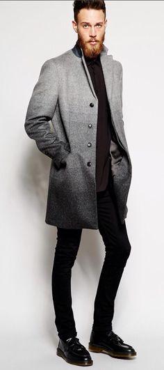 Sisley Overcoat With Gradient Body, Men's Fall Winter Fashion.