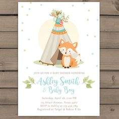 Items similar to Woodland baby shower invitation Boy Baby Shower Invitation Fox Teepee arrow Woodland Tribal baby shower boho pow wow blue PRINTABLE foxt on Etsy Custom Baby Shower Invitations, Pink Invitations, Baby Shower Invites For Girl, Baby Shower Fun, Fun Baby, Christening Invitations, Birthday Invitations, Baby Shower Tribal, Forest Baby Showers