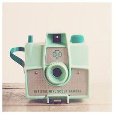 camera photograph, mint, cream, still life photography, color photography, girl scout, mint camera, pastel, nursery wall art