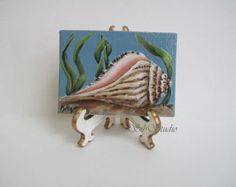 Whelk Shell Miniature Painting, Original Artwork, 2.5  x 3.5 inches ( 63.5 x  88.9mm ), Arcrylic Painting