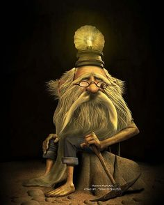 On his head is a candle to light the way -♫ Hi ho- Hi ho - it's off to work I go...  -by Jean Baptiste Monge
