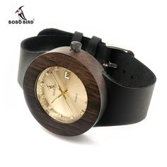 BOBO BIRD Brand Men and Women Wood Watch with Genuine Leather Strap Calendar Display Role Men Relogio Masculino Watches - Online Shopping for Watches