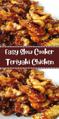 Easy Slow Cooker Teriyaki Chicken INGREDIENTS 2 lbs boneless chicken breasts (or leg quarters) cup brown sugar ½ cup soy sauce 2 tablespoons cider vinegar ½ teaspoon ground ginger 1 clove minced garlic ⅛ teaspoon pepper 2 teaspoons Slow Cooker Huhn, Slow Cooker Chicken, Slow Cooker Recipes, Crock Pot Chicken, Chicken Rice, Orange Chicken, Summer Crock Pot Recipes, Chicken Breast Recipes Slow Cooker, Crack Chicken