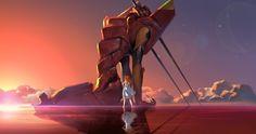 Neon Genesis Evangelion Asuka Langley Soryu EVA Unidad 02 reflejos en el agua 12x18 20X30 24X36 pulgadas Impresión Del Cartel 29