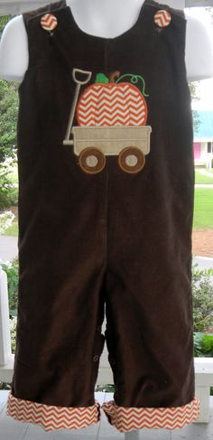 Boys Infant or Toddler Fall Brown Corduroy Longall Jon Jon Overall with Pumpkin in Wagon Applique Orange & Off White Chevron Cuff by southernmonograms on Etsy